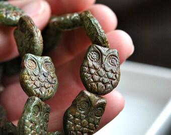 Owl Be Friends - Czech Glass Beads, Aqua Blue Opal, Picasso, Horned Owls 18x15mm - Pc 2