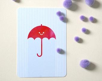 Carte postale Parapluie ou Chat-fleur ou Ours-fleur