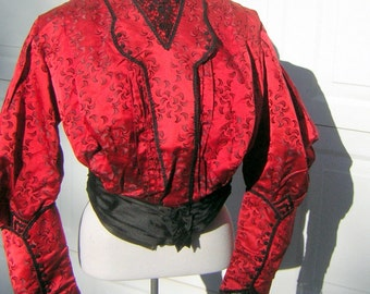 """Victorian Edwardian Red & Black Silk Bodice Blouse Gigot Mutton Sleeves French Lace  - Wearable Condition 30"""" Boned Waist"""
