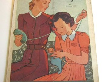 1930's Vintage French Magazine La Mode Pratique January, 1939 WWII Fashion and Sewing