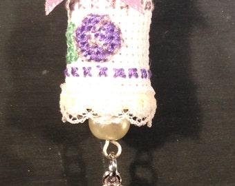Violet Flower Cross Stitch Spool Necklace