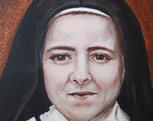"""Original Acrylic Painting 11"""" X 14"""" of Saint Teresa of Lisieux The Little Flower, Doctor of the Church, Carmalite Patron of France"""