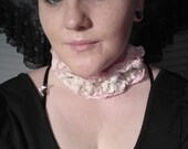 Pink Cream Lace Ruffle Pearl Necklace Choker SALE