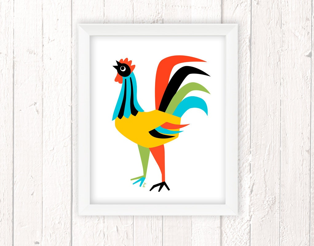 Kitchen art chicken decor rooster art print rooster wall - Rooster wall decor kitchen ...