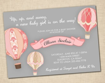 Up, Up, and Away Baby Shower Invitation - baby girl - hot air balloon - grey pink - print yourself