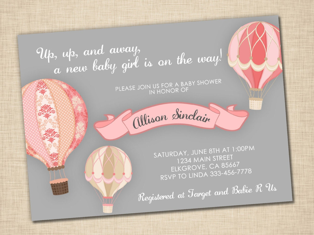 up up and away baby shower invitation baby girl hot air. Black Bedroom Furniture Sets. Home Design Ideas