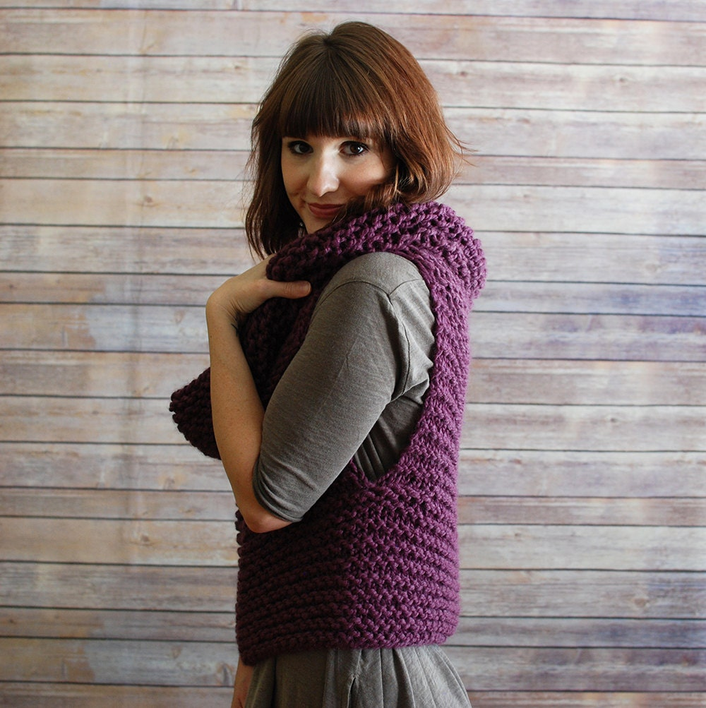 Knitted Hooded Vest Pattern : The Mavis Chunky Knit Hooded Cowl Vest Made to Order