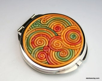 Fimo Compact Mirror in Autumn Colors Filigree (Pewter Finish)