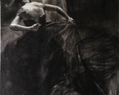 Unleashed - Original Charcoal Drawing by Kristina Laurendi Havens - Woman in Black Dress