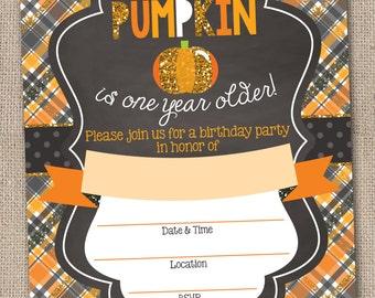 Instant Download Pumpkin Birthday Party Invitation Printable PDF