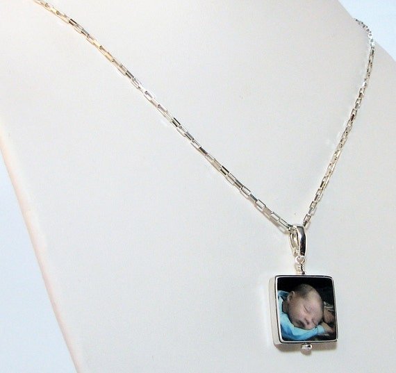 Photo Pendant Framed in Sterling - Small - Photo Tile Jewelry - FP3FlN