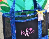 Tote Bag Embroidered Believe Pink Ribbon Breast Cancer Awareness Fabric and Vinyl Mesh Tote Bag