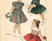 1950s Advance 5615 FF Vintage Sewing Pattern Girl's Party Dress, Full Skirt Dress Size 8