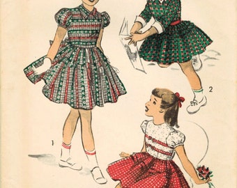 1950s Advance 5615 FF Vintage Sewing Pattern Girl's Party Dress Size 8