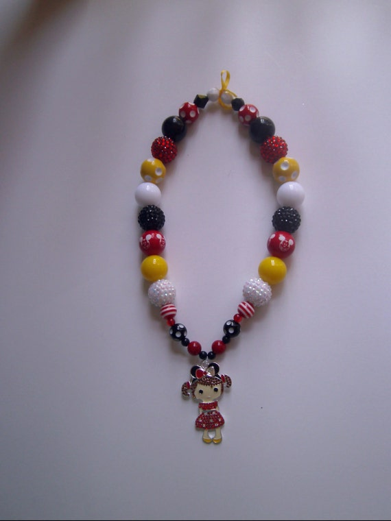 Disney Girls Chunky Necklaces,Handmade, Rhinestone Charm, Childs size, Children's Jewelry, Black,Red,Yellow