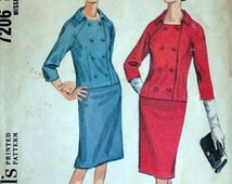 Misses Double Breasted Suit, McCall's 7206 Vintage 60's Sewing Pattern, Size 14, 34 Bust, Mad Men