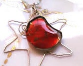Red moon and silver sun, fused glass,artisan necklace, gold details, handmade necklace,artisan jewel,tiffany,red, sun and moon, red, silver