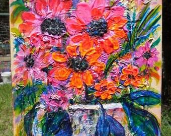 "Tropical Flowers Vase Textured 14x11"" painting original fine art pink orange bright cheery KeROBinson"