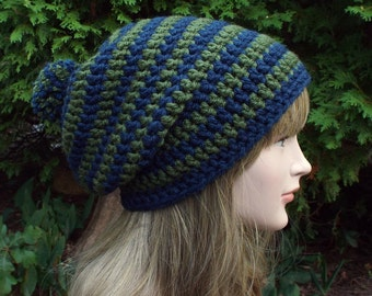 Blue and Green Slouchy Beanie, Womens Crochet Hat, Slouchy Hat, Mens Oversized Slouch Beanie, Chunky Hat with Pom Pom, Winter Hat Slouch Hat