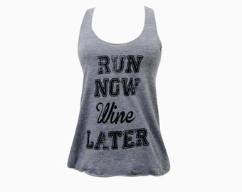 Fitness Tank Top - Run Now Wine Later - Tri-Blend Fitness Tank - (Available in sizes S, M, L)