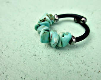Turquoise Blue Beaded Adjustable Memory Wire Wrap Ring with Comfort Band: Squall