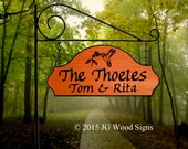 Custom Carved Wooden Family Name Sign - Hummingbird Graphic - Includes Round Garden Holder
