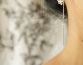 Lotus earrings, pull through earrings, sterling silver lotus threader earrings, sterling silver lotus dangle earrings, simple earrings