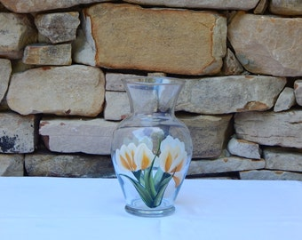 Hand Painted Glass Vase with Yellow Crocus