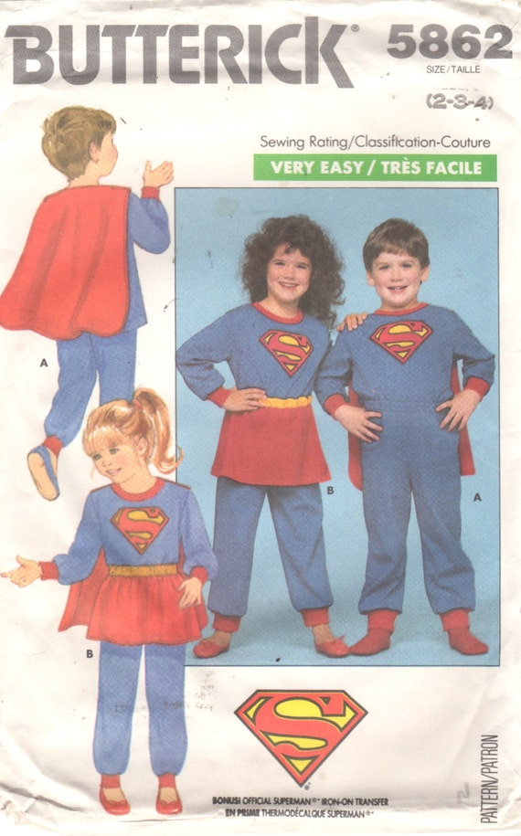 1980s children's Supergirl and Superman playsuits Butterick 5862