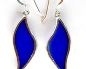Large, Blue Stained Glass Leaf Earrings on Sterling Silver Wires