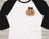 Monogram chevron pumpkin ADULT raglan shirt- perfect for all Fall activities