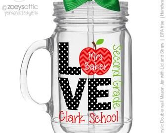 Love school mason jar tumbler personalized acrylic double wall tumbler - BPA free