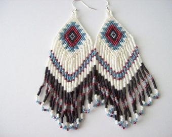 Handmade Beadwork Earrings , Native American Style Beaded Earrings , Long Dangle Earrings , seed Bead Earring, ,