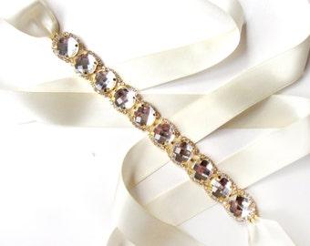 Glitzy Bridal Belt Sash - Custom Ribbon - White Ivory Satin - Gold Rhinestone Wedding Dress Belt