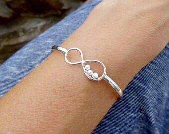 Infinity bangle bracelet, Peas in a pod jewelry, Friendship bracelet, Mothers bracelet, pearl bracelet, sterling silver, infinity jewelry