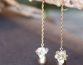Champagne drop earrings, pearl and swarovski crystal earrings, golden new year