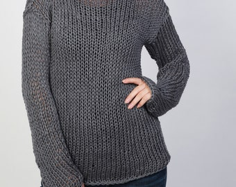 Hand knit sweater Eco cotton long sweater Charcoal Top