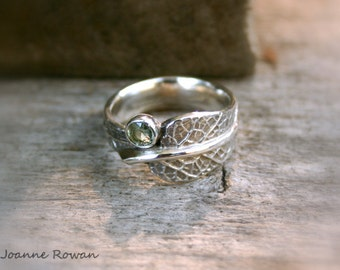 Petite Sage Leaf Ring with Green Sapphire...Wedding, Engagement, Promise Ring.