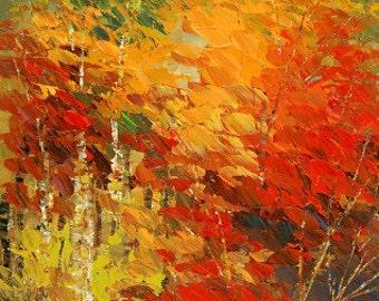 Forest Painting Palette Knife Handmade Original Landscape Art Birch Aspen Trees - by Tatiana Iliina - Made to order