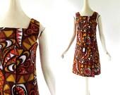 Vintage Tiki Dress / 60s Sundress / 1960s Dress / XS