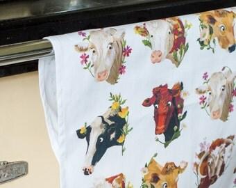 Cows & Flowers Tea Towel / Kitchen Towel