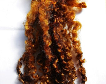 Wensleydale wool locks, EXCELLENT QUALITY, ready to use, WALNUT, Dolls hair, Blythe dolls, Spinning, Felting, Crafts, Carding