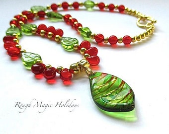 Colorful Christmas Necklace, Lampwork Leaf Pendant, Red Green Gold Beaded Strand, Holiday Jewelry, Green Leaves, Red Teardrops, Toggle Clasp