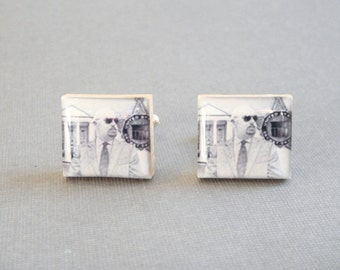 Custom Photo Cufflinks for Grooms - Groomsmen Wedding Gift - Personalized Keepsake Gift for Him - Anniversary Present - Fathers Day Gift
