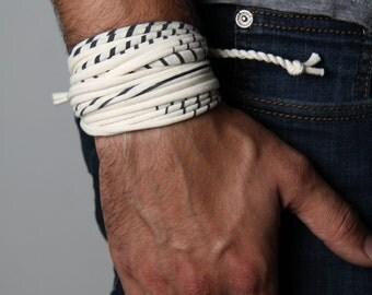 White Bracelet, Men's Gift Ideas, Anniversary Gifts for Boyfriend, Long Distance Boyfriend Gift, 1 Year Anniversary for Boyfriend, Men's