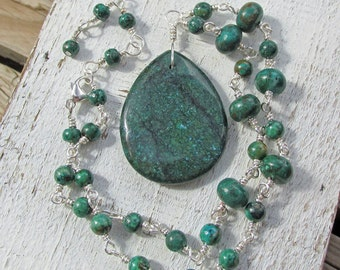 Chrysocolla Pendant Wire Wrapped Spiritual Healing Gemstones Statement Necklace