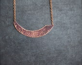 Dark Purple Patina Arch Pendant Necklace - Rustic Textured Copper, Tribal Boho Jewellery