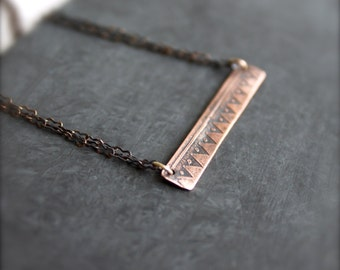 Etched Copper Bar Necklace - Rustic Oxidized Patina Tribal Geometric Triangle Textured Metalwork Boho Jewellery