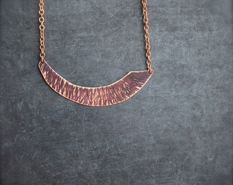 Dark Purple Patina Arch Pendant Necklace Rustic Textured Copper Tribal Boho Jewellery