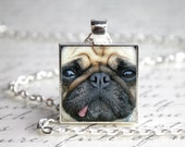 "Pug 1"" Square Button Pendant Necklace with Paw Print Organza Bag"